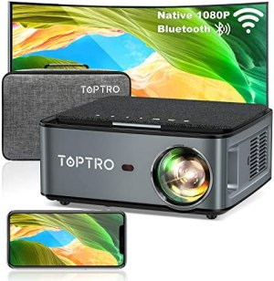 TOPTRO Bluetooth WiFi Projector with Carrying Case,7500L Native 1080P Portable Projector,Support 4D Keystone/Zoom/4K,Home Theater Projector Compatible with Phone/TV Stick/PC/USB/PS4/DVD