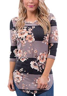 29d2b91c AIYUE® Women Floral Print T Shirts 3/4 Sleeve Striped Blouse Retro Casual  Shirt Tops