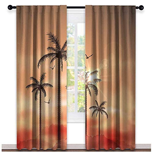 hengshu Tropical, Curtains Darkening, Palm Trees with Dramatic Hazy Sky Clouds and Gulls Exotic Display Art, Curtains Nursery, W84 x L96 Inch Coral Salmon Brown