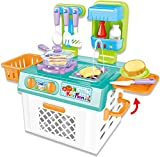 PowerTRC Mini Kitchen Play Set with Color Changing Lights and Sounds | Easy Portable Storage