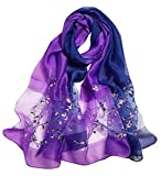 Alysee Women Soft Warm Silk&Wool Mixed Gradient Embroidered Scarf Headwrap Shawl Lavender