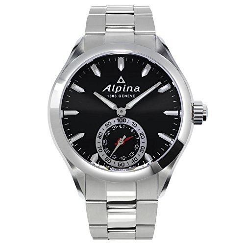 51NkumfTJcL Silver-tone motionx-powered smart watch compatible with iOS and Android platforms featuring black sunray dial, date window at 6 o'clock, combined date and 1/100th second sub dial, and 2-year battery 44mm round stainless steel case with scratch-resistant sapphire crystal Swiss quartz movement with analog display
