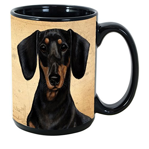 Imprints Plus Dog Breeds (A-D) Dachshund Black and Tan 15-oz Coffee Mug Bundle with Non-Negotiable K-Nine Cash (dachshund black and tan 070)