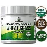 Organic Wheatgrass Powder by Peak Performance. Organic Wheat Grass Juice Powder Vegan Superfood Supplement Rich in Fiber, Antioxidants and Chlorophyll. USA Grown, Non Irradiated, Non GMO, Gluten Free