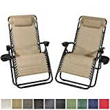 Sunnydaze Outdoor Zero Gravity Lounge Patio Chairs Oversized Set of 2, Pillows and Cup Holders Included, Khaki