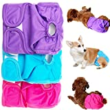 KOOLTAIL Female Dog Diapers - Anti-Side Leakage & Three Layers Absorption - Washable Reusable Doggy Diaper 3 Pack for Small to Large Dogs