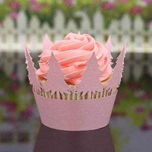 DAaomi Christmas Hollow Lace Cup Muffin Cake Paper Case Wraps Cupcake Wrapper Pink 51NnhRMvPFL