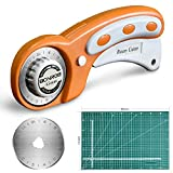 BONROB Rotary Cutter and Mat Set, with 12x18 Inch (A3) Double Sided Cutting Mat and 1 PCS Replacement Blade for Crafting, Sewing, Quilting