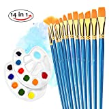 Paint Brushes, Atmoko 12 Pieces Nylon Artist Painting Brush Set with 2 Palettes for Watercolor, Acrylic and Oil Paintings, Perfect for Painting Canvas, Ceramic, Clay, Wood, Models(Kids and Adults)