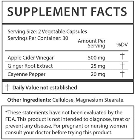 Squeeze Dried Apple Cider Vinegar Pills - ACV Capsules Extra Strength Detox Cleanse Appetite Immune Booster with Cayenne Pepper & Ginger - 60 Capsules for Men & Women 6