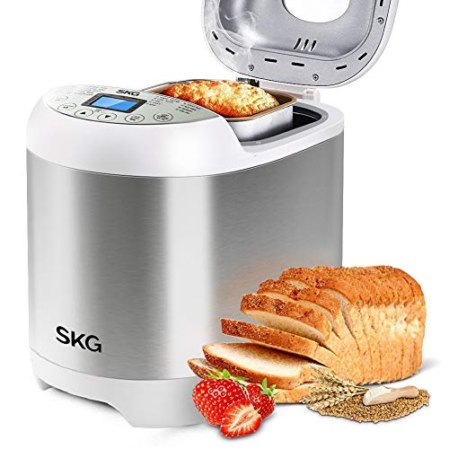 SKG 2LB Automatic Programmable Bread Machine Multifunctional Bread Maker (19 Programs, 3 Loaf Sizes, 3 Crust Colors, 15 Hours Delay Timer, 1 Hour Keep Warm)-Gluten Free Bread Maker