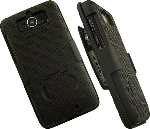 NAKEDCELLPHONE'S BLACK KICKSTAND CASE COVER + BELT CLIP HOLSTER STAND FOR VERIZON MOTOROLA DROID MINI XT1030 PHONE
