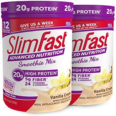 SlimFast Advanced Nutrition Vanilla Cream Smoothie Mix – Weight Loss Meal Replacement – 20g Protein – 11.4 Oz. Canister – 12 Servings (Pack of 2) - Pantry Friendly 1