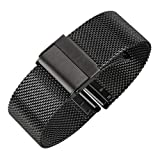 Luxury High-end Fashion Watch Mesh Band Metal Milanese Strap Deluxe Replacement Bracelet for Watch with Solid Safety Folding Clasp 316L Stainless Steel for Men & Women (24mm, Black)