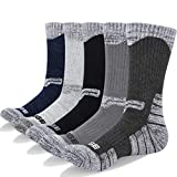 YUEDGE 5 Packs Men's Antiskid Wicking Outdoor Multi Performance Hiking Cushion Socks, Men Shoe 7-10.5 US Size