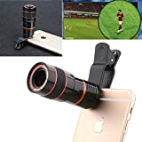 GOODKSSOP 8X Profession Zoom Optical Telescope Adjust Camera Telephoto Lens + Universal Clip Kit Fit for iPhone 5 6s 7 8 Plus X Samsung Galaxy S5 S6 S7 Edge S8 S9 Plus and Other Smartphone Cell Phone