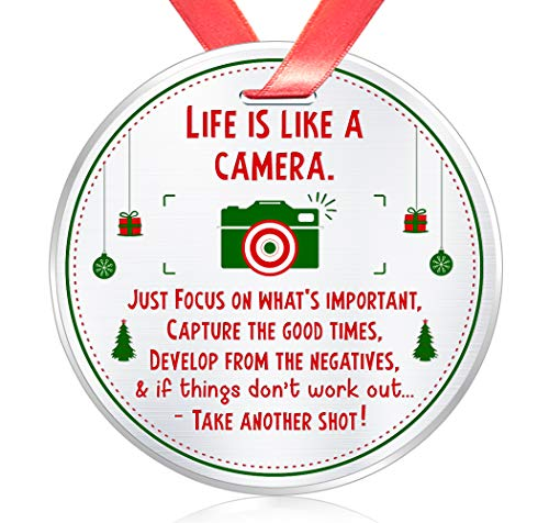 Elegant-Chef-Inspirational-Motivational-Gift-Christmas-Ornament-Life-is-Like-a-Camera-Focus-on-Whats-Important-Encouraging-Positive-Life-Keepsake-for-Photography-Lovers-3-inch-Flat-Stainless-Steel