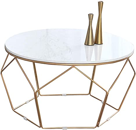 Round Small Coffee Tables For Living Room Modern Design Scandinavian Side Tables For Small Spaces End Tables Natural Marble Table Top High Gloss High 45cm Amazon Co Uk Kitchen Home