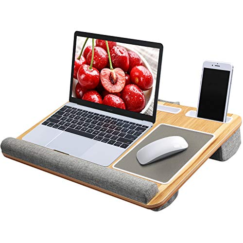 Lap Desk - Fits up to 17' Laptop Desk, Built in Mouse Pad & Wrist Pad for Notebook, MacBook, Tablet, Laptop Stand with Tablet, Pen & Phone Holder (Wood Grain)