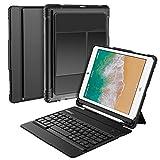 Nulaxy iPad 9.7 Case Keyboard, Detachable Wireless Keyboard Case Auto Sleep/Wake Built-in Stand & Pencil Holder Compatible iPad 9.7 2018, iPad 9.7 2017, iPad Pro 9.7, iPad Air 2 & 1, Black