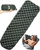 WELLAX Ultralight Air Sleeping Pad - Inflatable Camping Mat for Backpacking, Traveling and Hiking Air Cell Design for Better Stability & Support -Plus Repair Kit (Green)