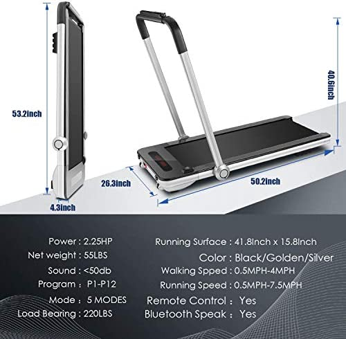 FUNMILY 2 in 1 Under Desk Folding Treadmill, 2.25HP Walking Running Machine with Bluetooth Speaker, Remote Control, Built-in 5 Modes & 12 Programs, Installation-Free, 2020 Model 7