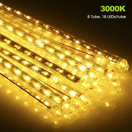 ECOWHO-Meteor-Shower-Lights-Connectable-LED-Falling-Rain-Drop-Romantic-Christmas-Lights-for-Party-Wedding-Halloween-etc-16ft-8-TubesPack-of-2-Warm-White