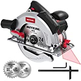 Circular Saw 1800w, Meterk 15Amp 7-1/2' Circular Saw with Laser Guide, 4700RPM with 2 Pcs Cutting Blades 24T+40T plus 1 Hex Wrench, Max Cutting Depth 67mm (90°) and 45mm (45°)