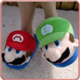 (Adult) Super MARIO & LUIGI Plush Slipper One Size Fits All for Adult Feet up to 11'