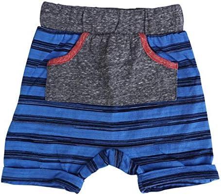 MikiMiette Boys Kangaroo Pocket Drop Crotch Long Short! Contrast Trims & Elastic Waist 1