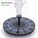 SOARAISE Solar Bird Bath Fountain Pump with Battery Pack, 1.5W Powered Fountain Free-Standing Outdoor Solar Panel Kits Water Pump for Birdbath, Garden, Pool, Pond