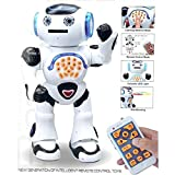 Top Race Remote Control Walking Talking Toy Robot, Dances, Sings, Reads Stories, Math Quiz, Shooting Discs, and Voice Mimicking.
