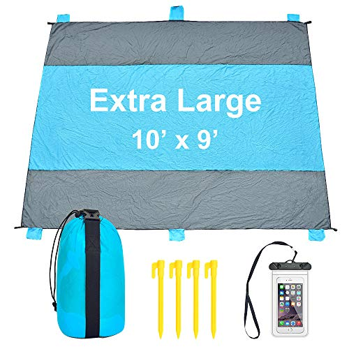 iValley Sand Proof Beach Blanket, 9'x10' Extra Large Beach Mat for 7 Adults - Sand Free Camp Blanket for Travel, Hiking, Music Festival - Quick Drying Heat Resistant Nylon, 4 Anchor Loops & Stakes
