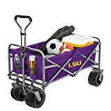 Smart Design Collegiate Heavy-Duty Utility Collapsible Wagon - Beach Cart - 20.15 x 35.5 x 22.5 inch - Louisiana State University - Officially Licensed Logo - Purple & Gold Colors - [LSU Tigers]
