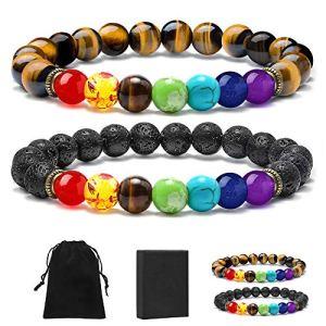 MONOZO Bead Chakra Bracelet – 7 Chakras 8mm Lava Rock Stone Anxiety Bracelet Essential Oil Diffuser Stone Yoga Beads Bracelets Meditation Relax Healing Aromatherapy Bangle for Men Wonmen Kids