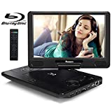 NAVISKAUTO 12' Portable Blu Ray DVD Player with Rechargeable Battery Support HDMI Out, 1080P Video, Sync Screen, USB SD, Dolby Audio, Last Memory