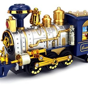 Classical Locomotive Battery Operated Bump and Go Toy Train w/ Smoking Action, Real Train Horn, Working Headlight (Colors May Vary) 51O7TSJdyNL