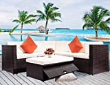 Leisure Zone 4 PCS Outdoor Cushioned PE Rattan Wicker Sectional Sofa Set Garden Patio Furniture Set (Blue Cushion)