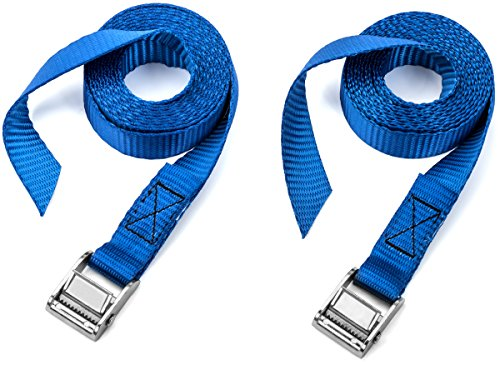 Two Pack of Premium Lashing Straps by Vault - 8 Ft Long – Rated 250 Lbs - Perfect Tie Down Strap for Kayaks Carriers, Moving Canoes, and Roof Racks - Great Accessory to Go With Ratchet Tie-Downs