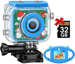 Kids Camera,Gofunly Waterproof Action Video Digital Camera,Underwater Sports HD Camcorder for Boys Girls with 1080P 12MP 2.0 Inch Large Screen,32GB Memary Card,Card Reader (Christmas Theme-Blue)