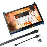 for Raspberry Pi 7 inch Capacitive Touch Screen HDMI Monitor - 1024x600 HD LCD Display Gaming Screen, Drive Free for Raspberry Pi/Windows 10/Beagle Bone Black and Banana Pi