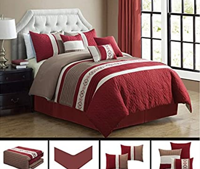 Modern 7 Piece California Cal King Bedding Burgundy Red Taupe White Quot