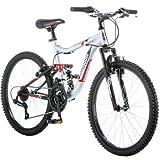 24' Mongoose Ledge 2.1 Boys' Mountain Bike, Silver/Red