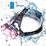 Headlamp 12000 Lumen Ultra Bright CREE LED Work Headlight,Brightest USB Rechargeable Headlamps,4 Modes Waterproof Zoomable Head Lamp Best Headlamps for Camping Cycling Hiking Hunting Outdoors