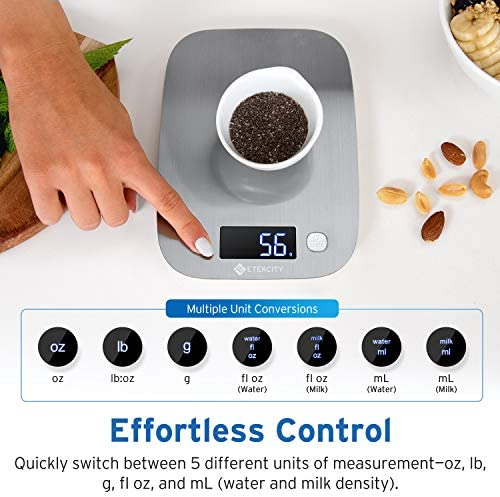 Etekcity Food Scale, Digital Kitchen Weight Grams and Ounces for Baking and Cooking, Medium/LED Display, Silver Stainless Steel 4