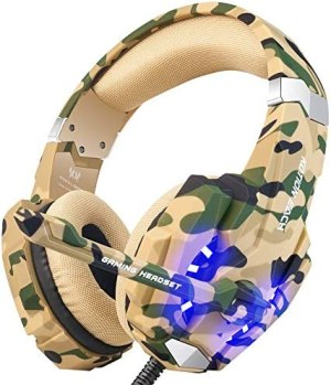 BENGOO Stereo Gaming Headset for PS4, PC, Xbox One Controller, Noise Cancelling Over Ear Headphones Mic, LED Light, Bass Surround, Soft Memory Earmuffs for Laptop Mac Nintendo Gamecube –Camouflage