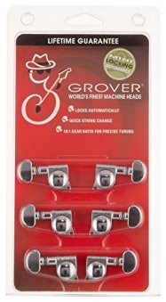 Grover 406C Rotomatic Mini 3 per Side Self Locking Machine Heads, Chrome