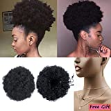 Moshina Graceful African American Black High Puff Ponytail with 2 Clips - High Wrap Updo Hairpieces - Kinky Curly Synthetic Kanekalon Fiber - Afro Bun for Black Women -Natural Chignon (Color 1b)