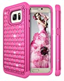 Style4U S7 Edge Case, Galaxy S7 Edge Case, Studded Rhinestone Crystal Bling Hybrid Armor Case Cover for Samsung Galaxy S7 Edge with 1 Stylus (Hot Pink)