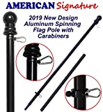 Flag Pole 5 ft - Heavy Duty Aluminum Tangle Free Spinning Flagpole with Carabiners - 2019 New Enhanced Design - Outdoor Wall Mount Flagpole for Residential or Commercial (Black, 5')